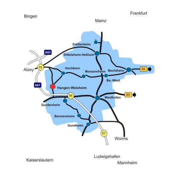 Lageplan Ortsgemeinde Hangen-Weisheim